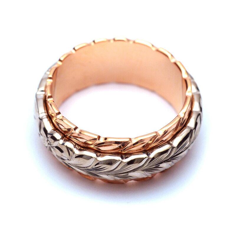(Weliana)ONLYONE マリッジリング 結婚指輪 ハワイアンジュエリー リング レディース 女性 メンズ 男性 K14 K18 Pt デュアルトーン マイレ ダブルカットアウト・ ゴールドリング(幅8mm) オーダーメイド ハンドメイド 新作  wri1458