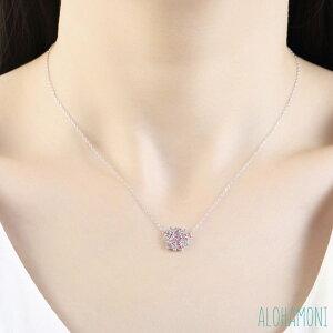 桜 モチーフ ネックレス キュービックジルコニア CZ シルバー925 チェーン さくら SAKURA ペンダント ピンク キラキラ 小ぶり 華奢 かわいい 長さ40cm