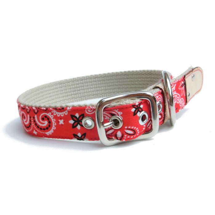 幅15mm・首輪 中型犬<バンダナ柄>小型犬 首輪 おしゃれ かわいい 犬 布首輪 布製【メール便!】
