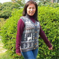 (送料無料)手紡ぎアルパカの高級手編みベスト