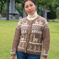 (送料無料)手紡ぎアルパカの高級手編みカーディガン