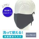 【TVで紹介!】洗える マスク 保冷剤装着 ひんやり 冷感マスク ビッグサイズ(大人用大きめ)接触冷感 吸汗速乾 ストレッチ UVカット:ネイビー