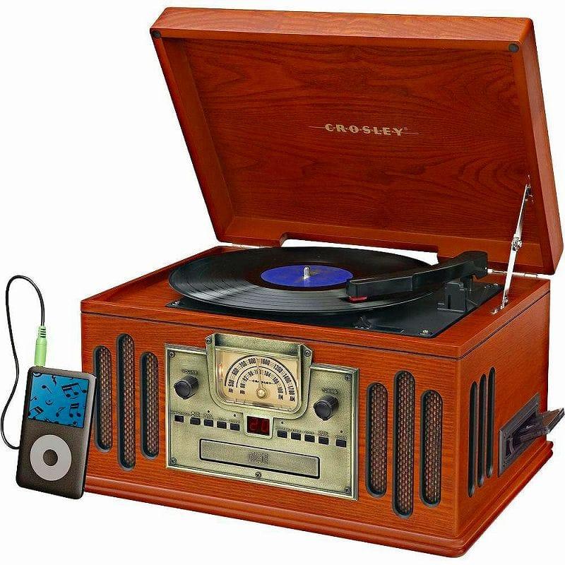コンポ用拡張ユニット, レコードプレーヤー  CD Aux Bluetooth Crosley CR704D-PA Musician 3-Speed Turntable with Radio, CDCassette Player, Aux-In and Bluetooth