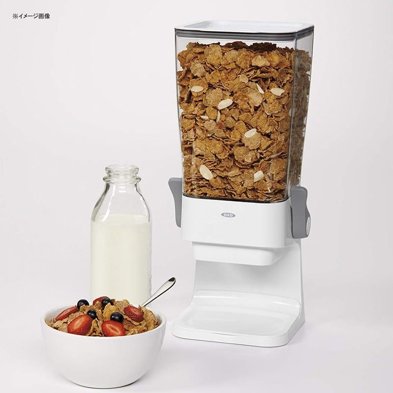 ディスペンサー オクソ シリアル お菓子 グラノーラ ドッグフードにも OXO Good Grips Countertop Cereal Dispenser, Clear/White