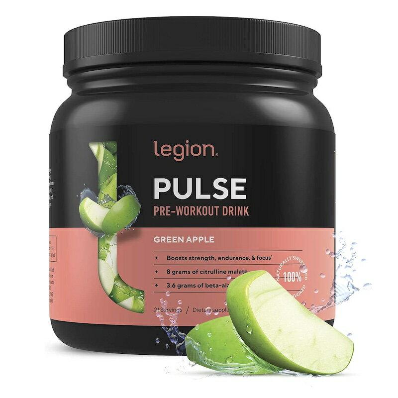 プレワークアウト パウダー グリーンアップル 青リンゴ 21回分 487g サプリ トレーニング 筋トレ Legion Pulse Pre Workout Supplement - All Natural Nitric Oxide Preworkout Drink to Boost Energy & Endurance. Green Apple, 21 Servings.画像