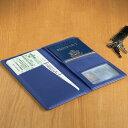 革製 パスポートケース ブルーLeather Ticket and Passport Holders Ocean Blue