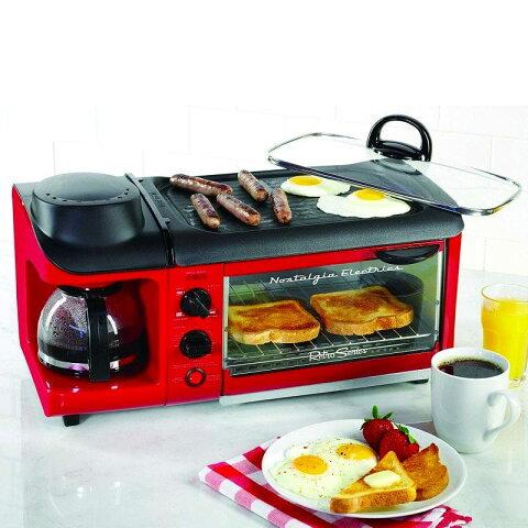 オーブン トースター おしゃれ かわいい かっこいい 1台3役 3WAY 朝食準備セット ホットプレート コンパクト ノスタルジア レトロ カリフォルニア 西海岸 クラシック ビンテージ モーニング Nostalgia 3-in-1 Breakfast oven 家電