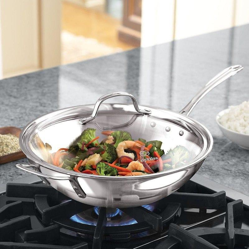 カルファロン 直径30cm フライパン 中華鍋Calphalon Triply Stainless Steel 12-Inch Stir Fry with Cover 1767726