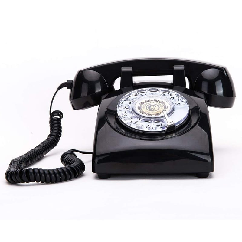 レトロ ダイヤル式 電話 クラシック ビンテージ Rotary Dial Telephones Sangyn 1960'S Classic Old Style Retro Landline Corded Desk Telephone,Black