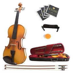 バイオリン 4/4 フルサイズ ハードケース付 Mendini MV400 Ebony Fitted Solid Wood Violin with Hard Case, Shoulder Rest, Bow, Rosin, Extra Bridge and Strings - Size 4/4, (Full Size)