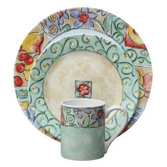 水的顏色 16 點的印象 Correr 陶瓷餐具設置康寧 16 件印象晚餐水顏色集