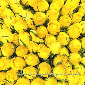 花宅配翌日配達:【琥珀】イエロー(黄色)系のバラ100本のブーケ(花束)