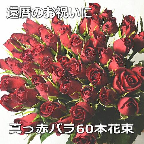 送料無料!16時まであす楽OK!薔薇 赤バラ花束60本 還暦【楽ギフ...