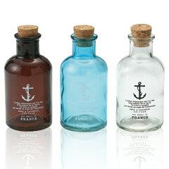 お部屋に並べて置いてもかわいいアンティーク風ガラス瓶。インテリアボトル マリンシップ