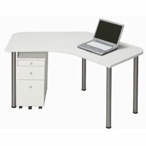 Garage パソコンデスク オフィスデスク シンプルL字型 D2 D2-A-ST 白 ホワイト 【代引不可】:ドラッグスーパー alude