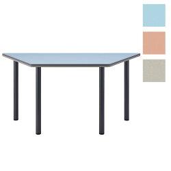 TCS-1500台形幅150×奥行65×高さ70cmミーティングテーブル会議テーブル4本脚シルバー脚