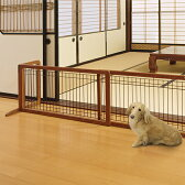 木製おくだけゲートH 犬用 ワイド ブラウン【代引不可】
