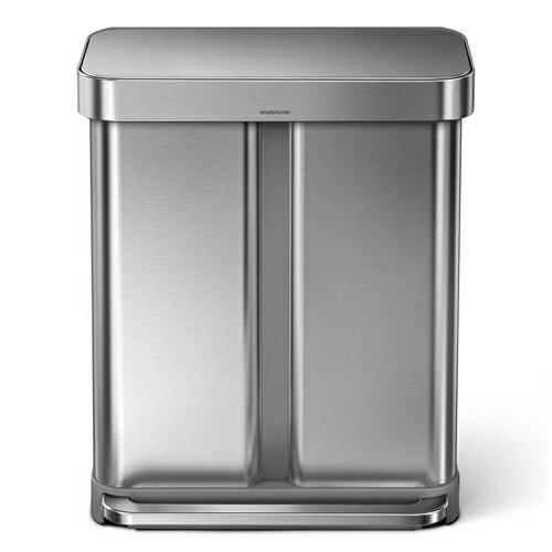 シンプルヒューマン CW2025 レクタンギュラー ステップカン 2コンパートメント ポケット付 ステンレス 58L ゴミ箱 SIMPLEHUMAN