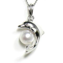 【小さくても上品な輝き】あこや真珠 白 6.0mm-6.5mm イルカ シルバーペンダント【送料無料...