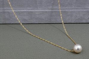 パール 真珠 あこや ネックレス アコヤ真珠 一粒 スクリュー チェーン 7mm 本真珠 大粒 フォーマル ペンダント K18