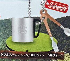 面白雑貨 コールマン キャンプグッズマスコット ダブルステンレスマグ/300&スプーン&フォーク