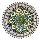 北アフリカ陶器 チュニジアよりオアシスグリーンのファウンテン柄 絵付けBOL16cm