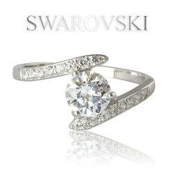 SWAROVSKIスワロフスキー刻印入りジェム#28322一粒デザインリングK18GPホワイトゴールド【ゆうパケット送料無料】