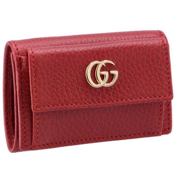 873b2d821775 グッチ 三つ折り財布 ミニ財布 レディース マーモント Petite Marmont 三つ折り財布 HIBIS RED