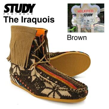スタディー ザ・イロコイ ハイ ネイティブ フリンジブーツ ブラウン (STUDY THE IRAQUOIS FW1127 レディース 女性用)