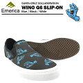 エメリカ×サンタクルーズワイノG6スリップオンブルー/ブラック/ホワイトスケートスケーターシューズ(Emerica×SANTACRUZWINOG6SLIP-ON)