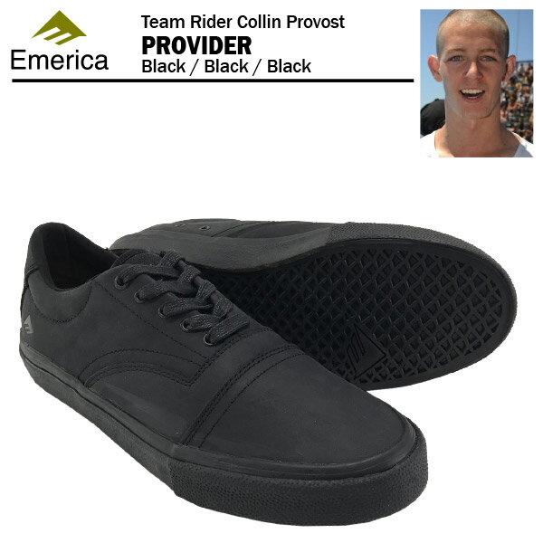 エメリカ プロバイダー ブラック/ブラック/ブラック スケート スケーター シューズ (Emerica PROVIDER COLLIN PROVOST)