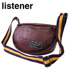 リスナー PUレザー ハーフムーン ショルダー バッグ ワイン (Listener)
