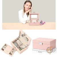 ジュエリーボックス小物入れミラー付きトレイ付きPINKアメリカ輸入雑貨宝石箱お洒落なボックスギフト