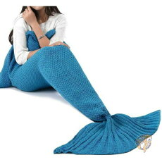 人魚姫ブランケットマーメイドテイルブレンケット大人用サイズレイクブルーLAGHCATスリーピング毛布ギフト人魚型誕生日クリスマスホワイトデー