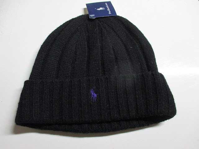 再入荷しましたRALPH LAUREN/ラルフローレンニットキャップ BLACK/purple