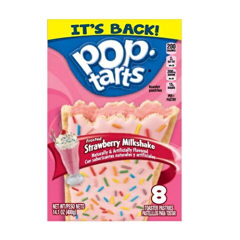 Kellogg's POP-tarts Strawberry Milkshake 8ct/14.1oz/400g /ケロッグ ポップタルト ストロベリー ミルクシェイク50g×8枚入り