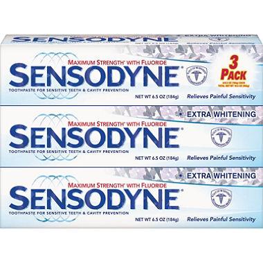 【お得な3本セット】センソダイン エキストラホワイトニング 歯磨き粉 Sensodyne Extra Whitening Toothpaste 6.5 oz.