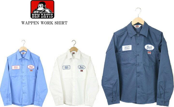トップス, カジュアルシャツ BEN DAVIS WAPPEN WORK SHIRT 0380014 3color