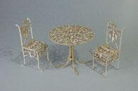 ロートアイアンファニチャー ペーパークラフト 1/12 アイアン丸テーブルとチェアー(白)[コバアニ模型工房]《取り寄せ※暫定》