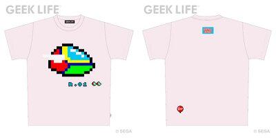 ファンタジーゾーン でか ドット ワンポイントステッチ Tシャツ ライトピンク M[GEEK LIFE]《08...
