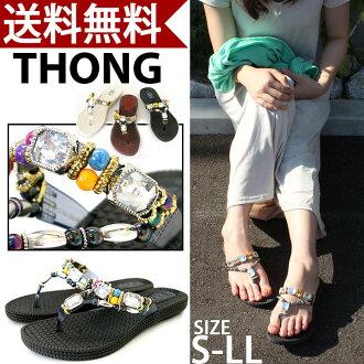 Thong Sandals ethnic beads and Bijou / pettanko / resort /