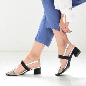 太ヒールダブルベルトサンダルローヒールストラップ低反発痛くない歩きやすい履きやすいバイカラー3.5センチヒールスエード黒赤白送料無料