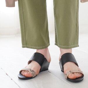 【送料無料】ダブルストラップミュールサンダルレディースサンダルインヒールペタンコつっかけぺたんこ脚長美脚サイドゴア脚長靴ローヒールシューズウェッジソール歩きやすい春夏大きいサイズ3L【smtb-KD】