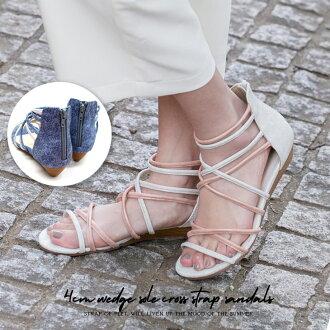 多交叉帶涼鞋錶帶楔形唯一低跟涼鞋女性黑駱駝避暑勝地 Python