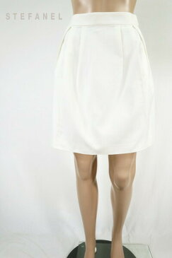 90%OFF 訳あり 新品 ステファル STEFANEL スカート 38 ESK205 Sサイズ ホワイト レディース 台形スカート コットン タック入り アウトレット
