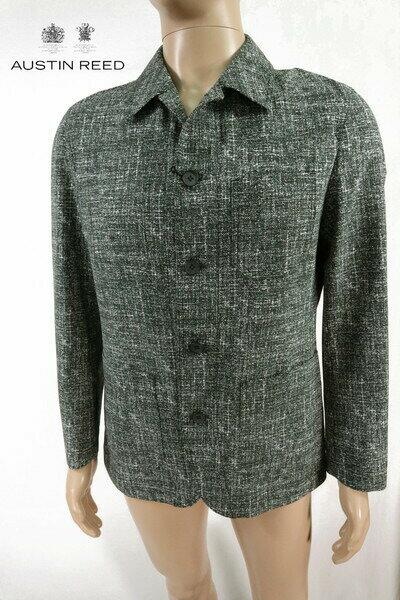 75%OFF 新品 オースチンリード Austin Reed カバーオール XL MJK1330 LLサイズ ブラックグレー メンズ シャツジャケット サマーツイード ポリエステル100% 日本製 春夏