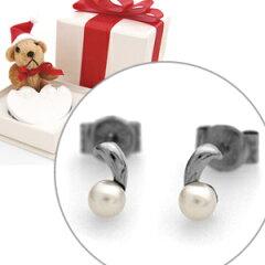 【クリスマス限定ベアーBOXセット】 淡水パールチタンピアス 3.5〜4mm [E0146WFP&BOX36]