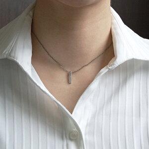 チタンネックレスバータイプ天然ダイヤモンド10石合計約0.1ct[N0032-WDA&C0050-AD2-40]
