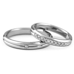 チタンマリッジリング角落ち鏡面仕上げ天然ダイヤモンド[R0143-WDA&R0286-WDA]