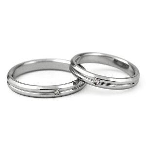チタンマリッジリング角落ち鏡面仕上げ3mm幅天然ダイヤモンド[R0143-WDA-pair]
